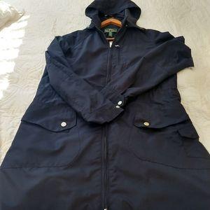 Ralph lauren navy blue hooded cargo rain jacket